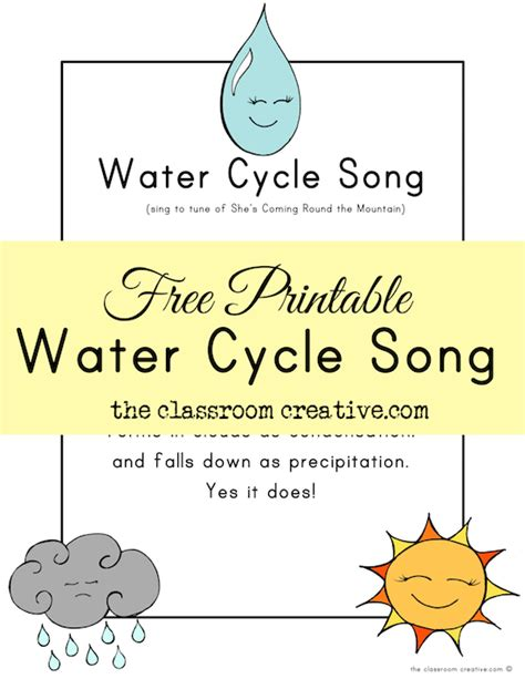 water cycle preschool free printable water cycle song 254