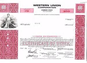First Common Stock Certificate Union