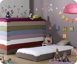 Lit enfant empilable taupe 90x190 cm avec sommier et matelas for Deco chambre enfant avec achat matelas latex 90x190