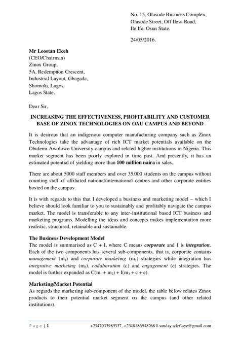 ict market analysis  business development letter