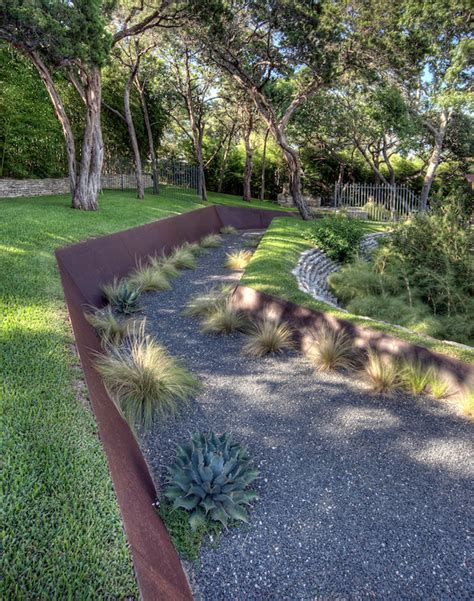 metal retaining wall landscape contemporary  courtyard