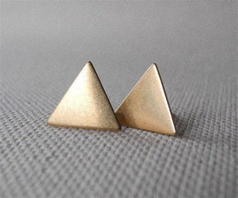 sterling silver studs triangle stud earrings autumn jewelry geometric earring