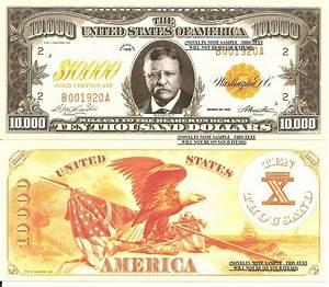 Roosevelt Gold Certificate 10,000 Dollar Bills x 4 United