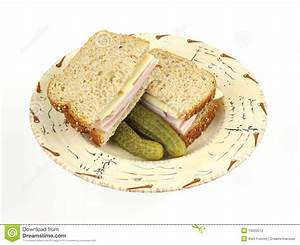 Turkey And Cheese Sandwich With Pickles Stock Photo ...