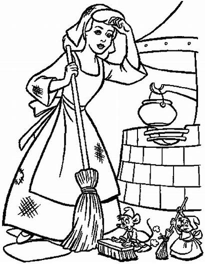 Coloring Cinderella Clean Cartoon Pages Help