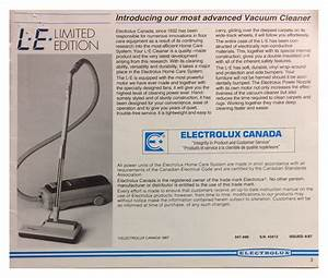Le Electrolux Limited Edition Vacuum Cleaner Manual Pg 3