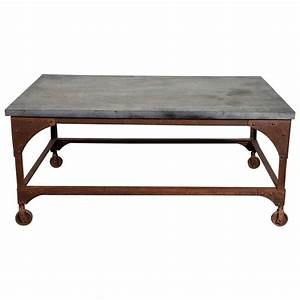 Industrial belgian blue stone and iron coffee table at 1stdibs for Stone and iron coffee table