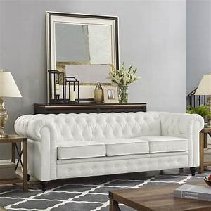 Emery, Chesterfield, Sofa, With, Rolled, Arms, Tufted, Cushions, By, Naomi, Home-color, White