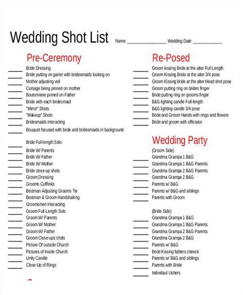 shot list samples  ms word