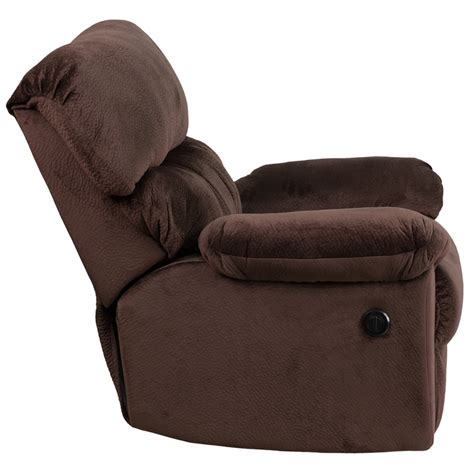 contemporary sharpei chocolate microfiber power recliner