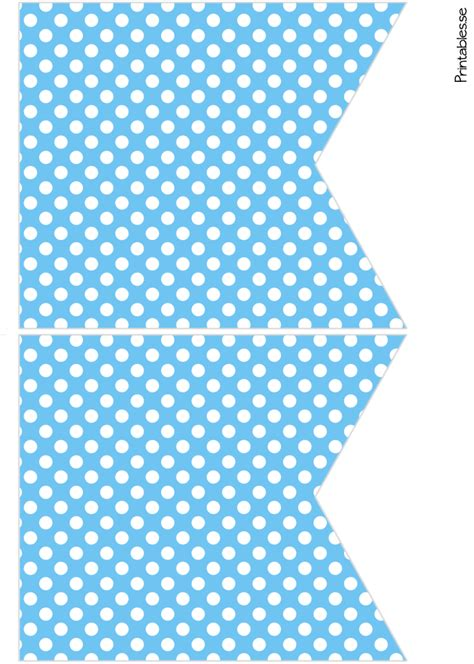 blue pennants  white dots  printable