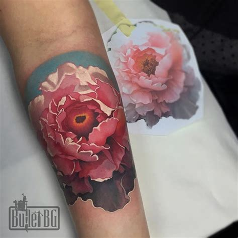 realistic peony tattoos