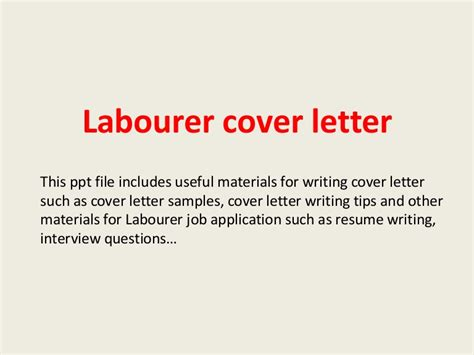Labourer Cover Letter No Experience by Labourer Cover Letter
