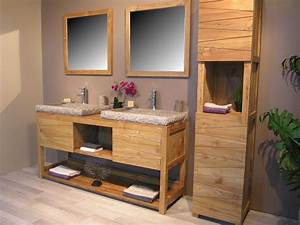 Etourdissant meuble salle de bain teck colonial avec for Salle de bain design avec meuble sous vasque bois castorama