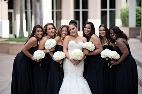 brides bridesmaids photos black bridesmaid hydrangea bouquets inside weddings