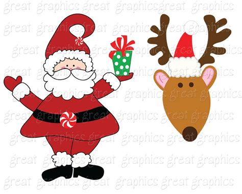 Printable Santa Reindeer Clip Art
