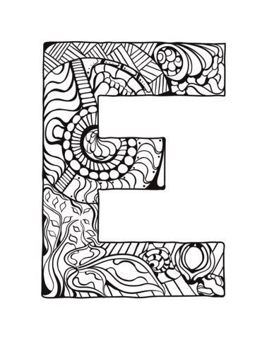 letter  zentangle coloring page  printable coloring