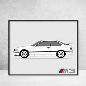 Bmw M3 E36 Side Profile View Poster Print 3 Series