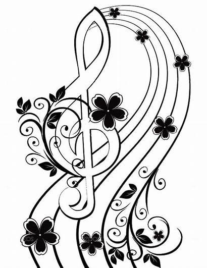 Clef Treble Musical Flower Pattern Background Coloring