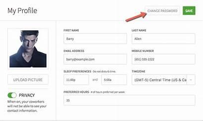 Profile Settings Password Change Changing Updating Web