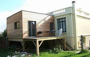 extension maison toit plat sur pilotis With agrandissement maison sur pilotis
