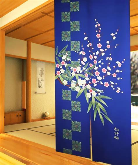 Chinese pine tree Bamboo plum flower Door Doorway Curtains