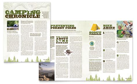 nature camping hiking newsletter template word publisher