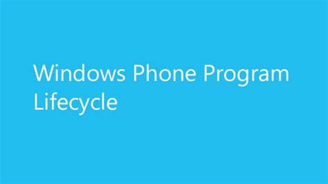 windows phone 8 5 application lifecycle