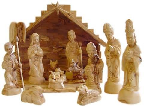 hand carved olive wood christmas nativity set with stable from bethlehem ebay