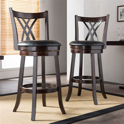 black wood counter stools baxton studio bloomfield black faux leather and brown 4770