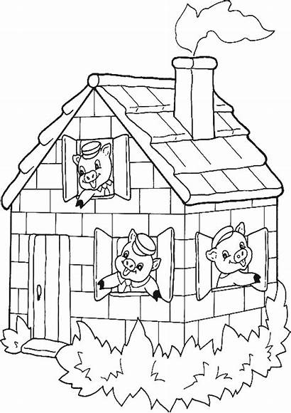 Inside Drawing Coloring Pigs Three Bricks Pages