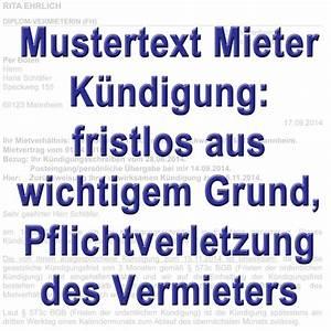 Gründe Für Fristlose Kündigung Mieter : mustertext fristlose k ndigung durch den mieter gem ~ Lizthompson.info Haus und Dekorationen