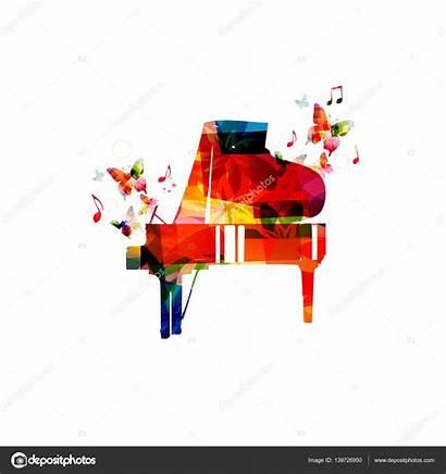 Kolorowe Fortepian Nutami Piano Wektor Muzyki Notes