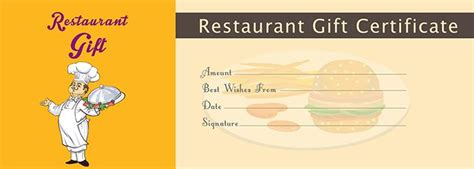 Restaurant Gift Certificate Template by Restaurant Gift Certificate Template Free Gift