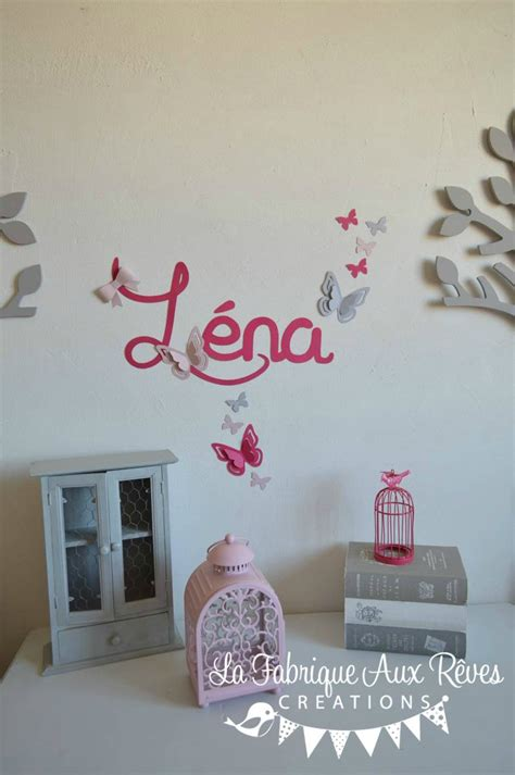 decoration papillon chambre fille stickers pr 233 nom fillerose poudr 233 fuchsia framboise gris papillons d 233 coration chambre b 233 b 233