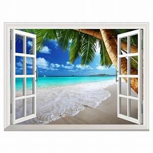 Poster Mural 3d : 3d exotic beach window view decal wall sticker home decor art wallpaper mural ebay ~ Teatrodelosmanantiales.com Idées de Décoration