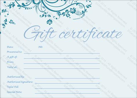 pretty blue gift certificate template