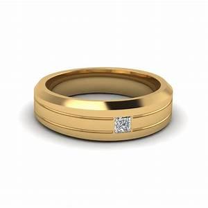 Bezel princess diamond mens engagement ring in 14k yellow for Mens diamond wedding rings yellow gold