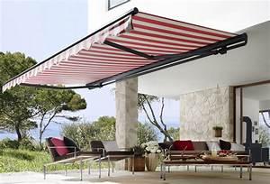 offene markisen fur terrasse balkon nervo nottebrock With markise balkon mit tapeten landhausstil gestreift