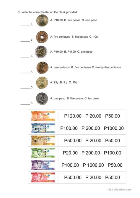 philippine money worksheet free esl printable worksheets
