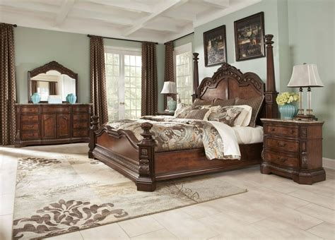 ashley ledelle poster  piece bed set dark cherry stain