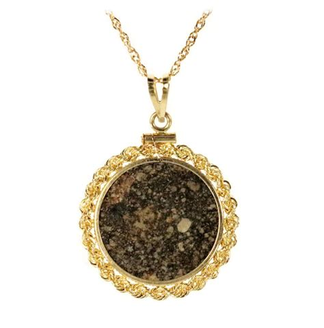 Meteorite Jewelry Pendant Coin Mount 14K Gold Prominent ...