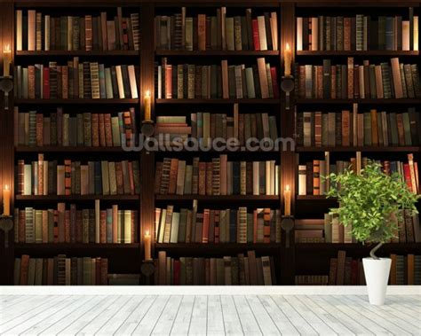 bookshelf mural bookcase and candles wallpaper wall mural wallsauce uk