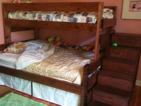 bunk beds rooms to go handmade twin over full bunk bed with staircase storage by 18394 | 7475.31943