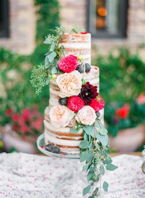 garden rose  dahlia naked wedding cake