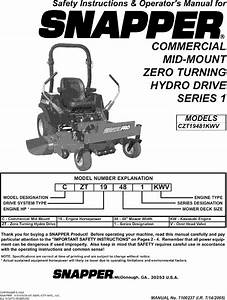 Snapper Czt19481kwv User Manual Zero Turn Mower Manuals