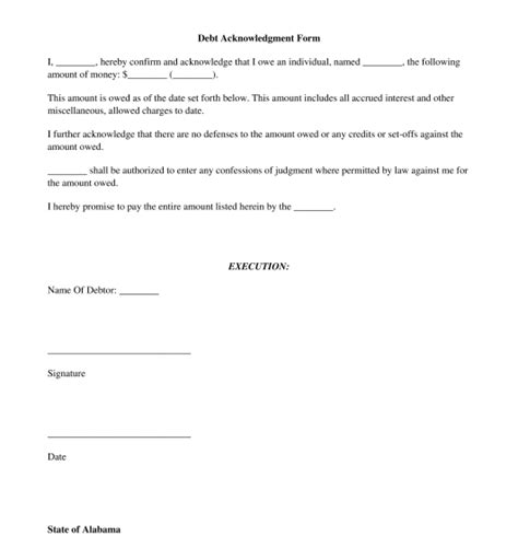 Acknowledgement Of Debt Template Debt Acknowledgment Form Free Template Word And Pdf