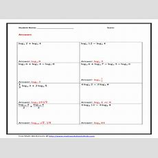 Expanding And Condensing Logarithms Worksheet With Answers  Free Printables Worksheet