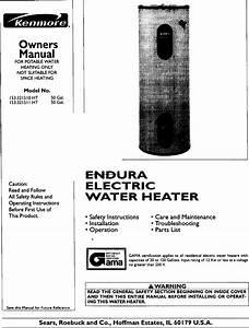 Kenmore 153321510ht User Manual Endura Electric Water