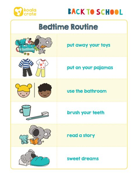 preschool bedtime routine chart back to school printable routines i kiwi crate 443